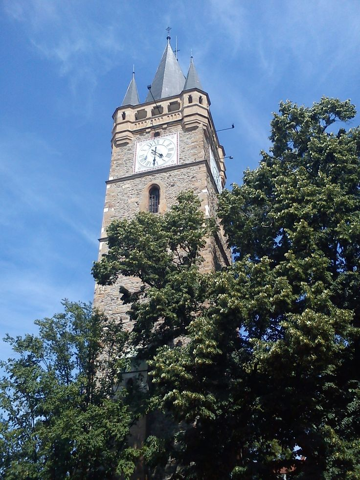 Stephen's the Great medieval tower, in the old part of Baia Mare, Maramures, Romania.