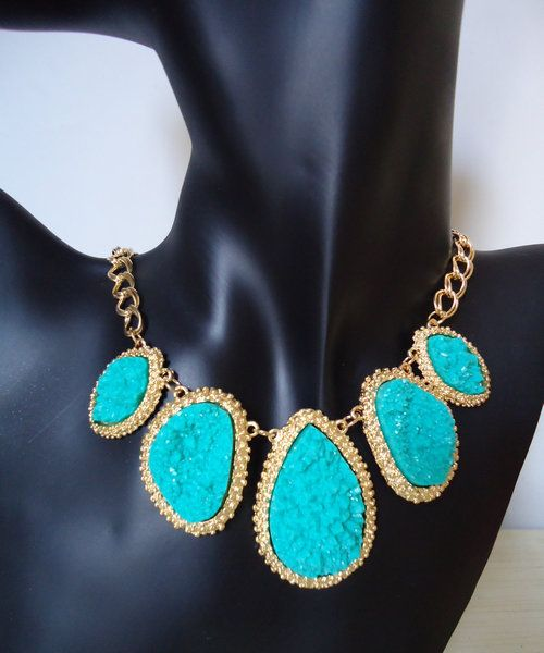 "Blue Bib Necklace.  Yours for only USD18.24 after ""HR20"" Discount Storewide for a limited promotional period.  Hurry Grab one at www.e1Necklace.com"