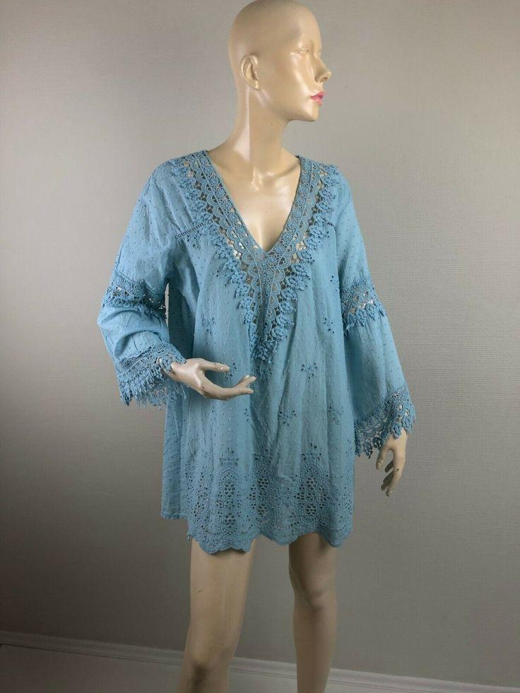 By Alina Damenkleid Pulloverkleid Longpullover Spitze Longshirt Tunika XS-M