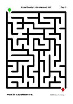 A printable PDF file with 10 simple mazes, one per page ...