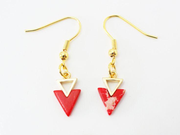 Triangle Earrings, Geometric Earrings, Two Triangle With Red Stone, Drop Earrings, Triangle Dangle Earrings, Gold Earrings, EMAN42 by PrettyMaNa on Etsy