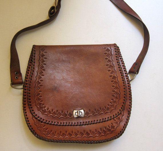 Vintage original hippie boho 1960s 1970s hand tooled tan satchel leather bag