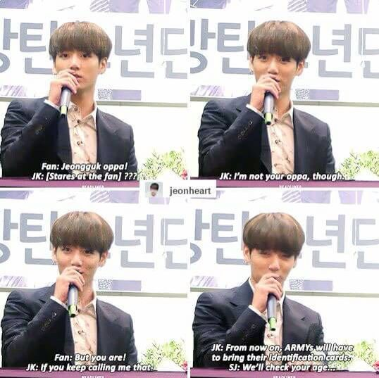 Jungkook doesn't believe the fan should call him oppa ^-^
