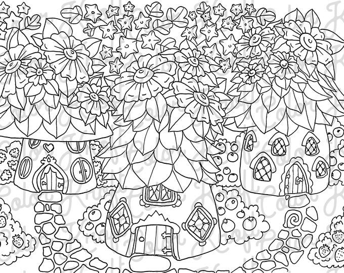 Gnome Home Coloring Page Printable Color Page Etsy Coloring Pages Garden Coloring Pages Printable Coloring Pages