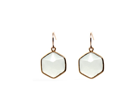 Pale Aqua Chalcedony Hexagon Gemstone Gold Framed by RachaelRye