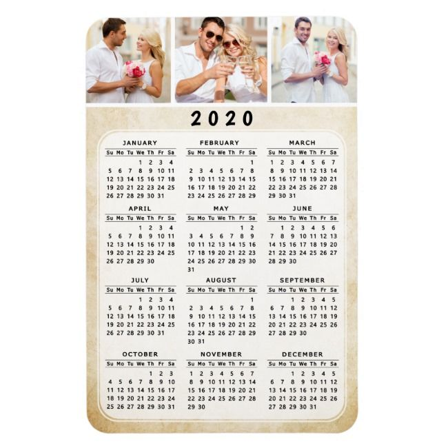 2020 Personalized Photo Magnetic Fridge Calendar Mag| Zazzle