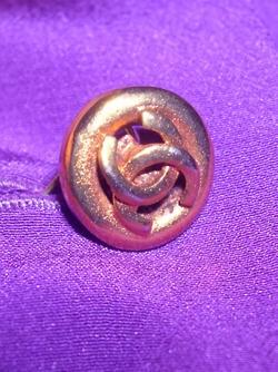 Button detail of a 1979 silk Chanel blouse.: Chanel Blouses, 1979 Silk, Silk Chanel
