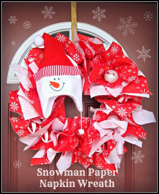 DIY Snowman Christmas Paper Napkin Wreath, done in 15 minutes or less and for less than $5 dollars, this is the wreath to go for a quick fes...