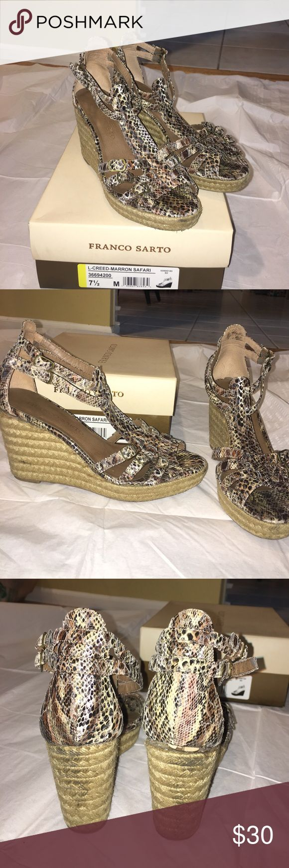 Franco Sarto Animal Print Espadrilles Size 7.5 Women's size 7.5, animal print espadrilles, 2 buckles around ankle, 3.5 inch heel, 1.5 inch platform, no damage but slight wear and tear, comes with original box Franco Sarto Shoes Espadrilles