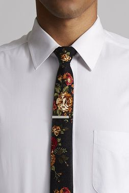 Floral Tie w/ Silver Tie Bar - Skinny Tie Madness - Ties : JackThreads
