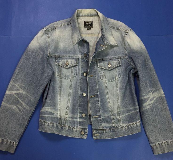 Gas giacca jeans jacket XXL blu bomber vintage giubbino uomo usata denim T3279