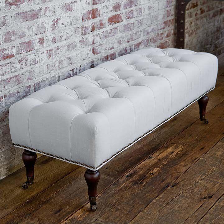 Regina Andrew Furniture White Linen Tufted Bench RA4114SLBLIN