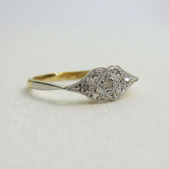 If this were not already sold this would have to be MINE.  It's exactly perfect, flat and intricate with a little bit of sparkle and a lot of personality. Deco Diamond Engagement Ring. Amazing Diamond Ring, Circa 1920s. on Etsy, Sold