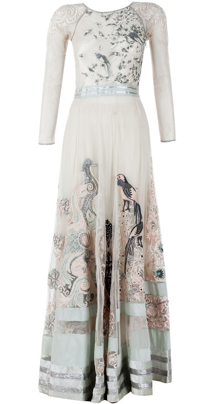 Embroidered ivory and mint anarkali with Peacock by VARUN BAHL. http://www.perniaspopupshop.com/designers-1/varun-bahl