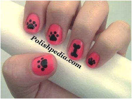 Dog paw prints - 50 Animal Themed Nail Arts | | StyleCraze
