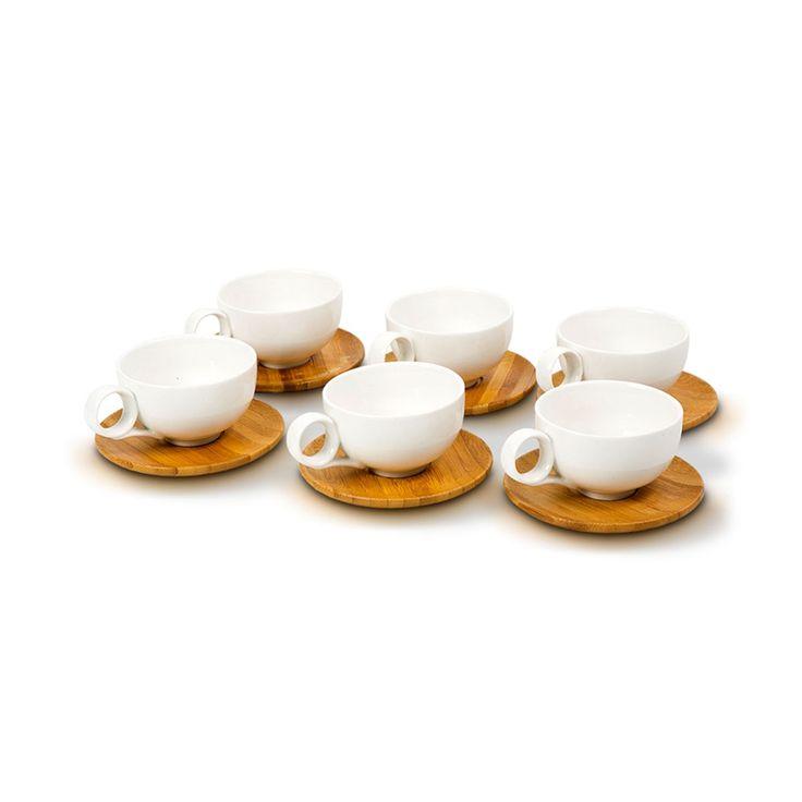Jogo de xicaras de café londres em porcelana e bambu 100 ml 6 peças