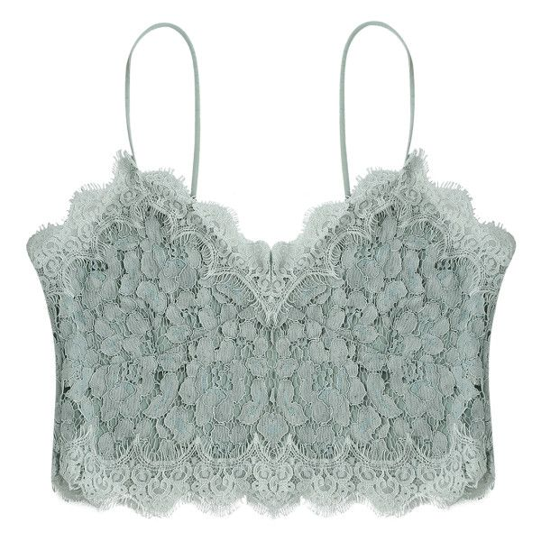 Cami Scalloped Lace Tank Top (£9.61) ❤ liked on Polyvore featuring tops, crop top, lacy camisole, lace camisole, cropped camisole, lacy cami and green cami