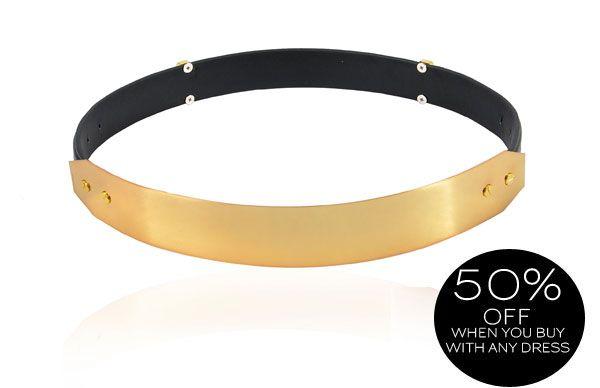 Accessories :: Belts & Scarves :: 'Signature' Gold Metal Black Leather Waist Belt - Celeb Boutique - Celebrity Style At High Street Prices  Bodycon Dresses   Bandage Dresses   Party Dresses