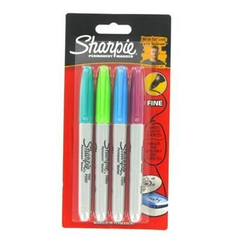 Sharpie Pack of Four Colour Fine Point Permanent Markers
