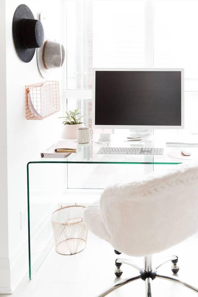 Pendant Light: Structube | Office Chair: PB Teen | Glass Desk: Structube | Marble Base Floor Lamp: CB2