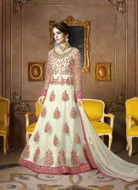 Off White Floor length Anarkali suit with floral embroidery
