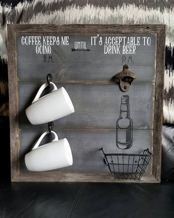 """Coffee keeps me going until it's acceptable to drink beer ~ am pm sign ~ coffee cup rack ~ beer bottle opener ~ cast iron ~ 18"""" x 18"""" by RusticCutsbyCrystal on Etsy"""