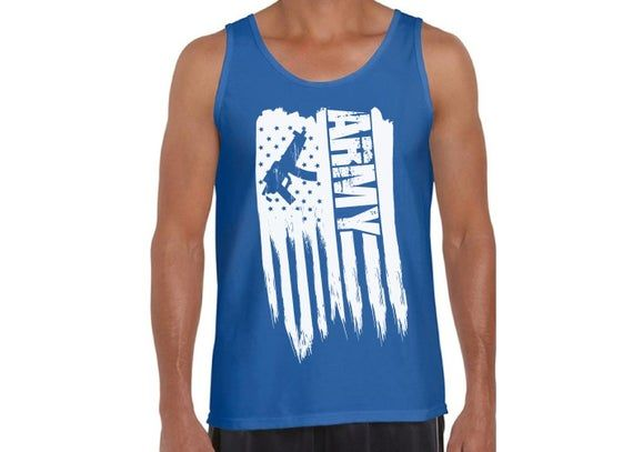 American Flag Army Men Tank Top. One Nation. Pro America Army Men Shirt. Army Gifts 2