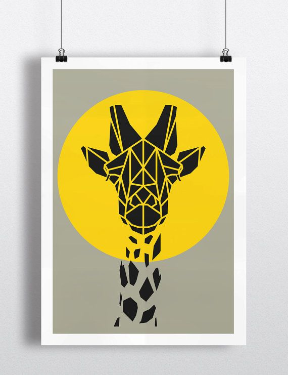 Art Print, Geometric Giraffe Print, Cool Gray Giraffe Art, Yellow Circle, Safari Art, Nursery Art, Animal Art