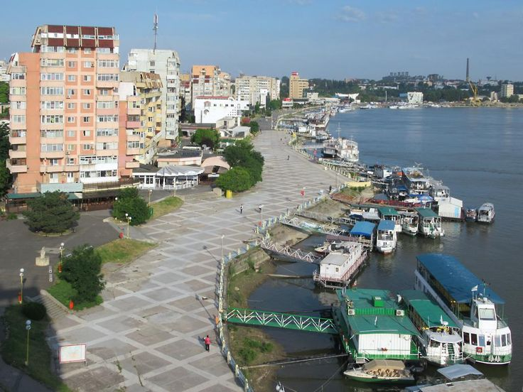 The Danube riverfront at Tulcea, Romania, was cleaned up and remodeled by the Ceaucescu regime in the 1980s.