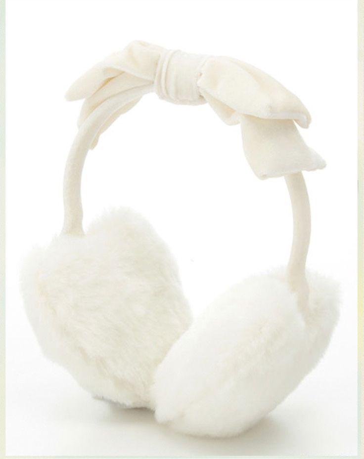 White/Pink Heart Shap Bow tie Soft Valour Earmuffs Warm Solid color Korea Fashion Female Girl Japan Cute Kawaii Women's Earmuffs