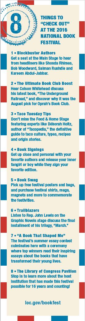 """Blog post: """"8 Things to Check Out at the National Book Festival and 1 Bookmark for You"""" by Lola Pyne, Sept. 13, 2016. Image: 2016 National Book Festival bookmark, back"""
