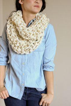Metallic Laced Chunky Crochet Infinity Scarf Free