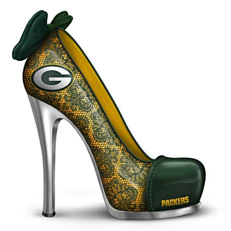 """OH MY GOD. Please. I need. Holy crap. I need. Ahhhhhh!! (NFL-Licensed """"Leading The Pack"""" Green Bay Packers High Heel Figurine, $29.99 + S)"""