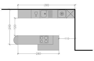 8 plans de cuisine am ricaine avec un bar cuisine pinterest cuisine americaine lineaires. Black Bedroom Furniture Sets. Home Design Ideas