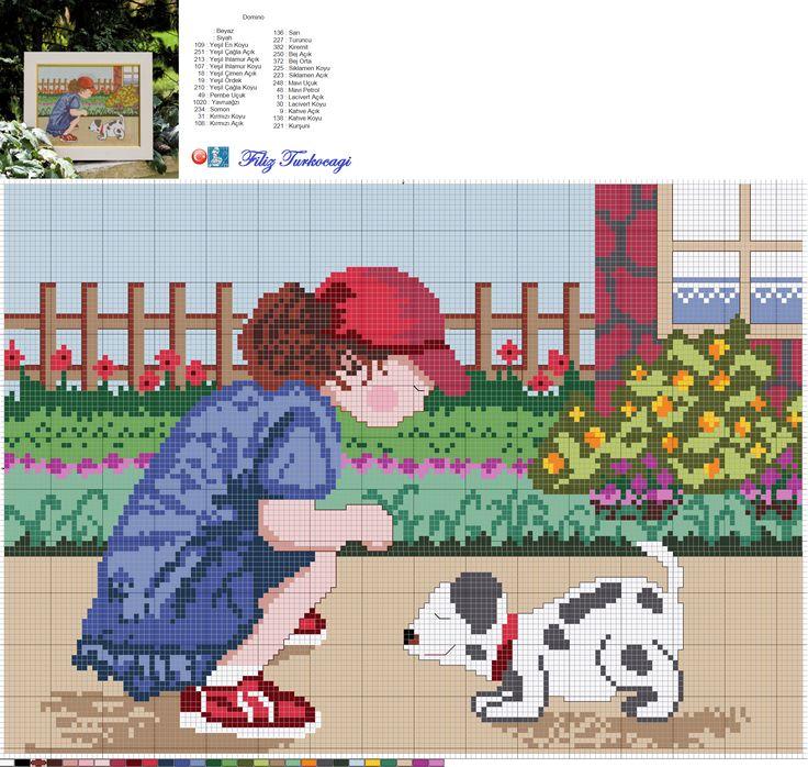 Bu da benim kızım, henüz üç yaşındayken çekilmiş bir fotoğrafından... Bahçede çocuklar da oynasın :) Designed and stitched by Filiz Türkocağı...