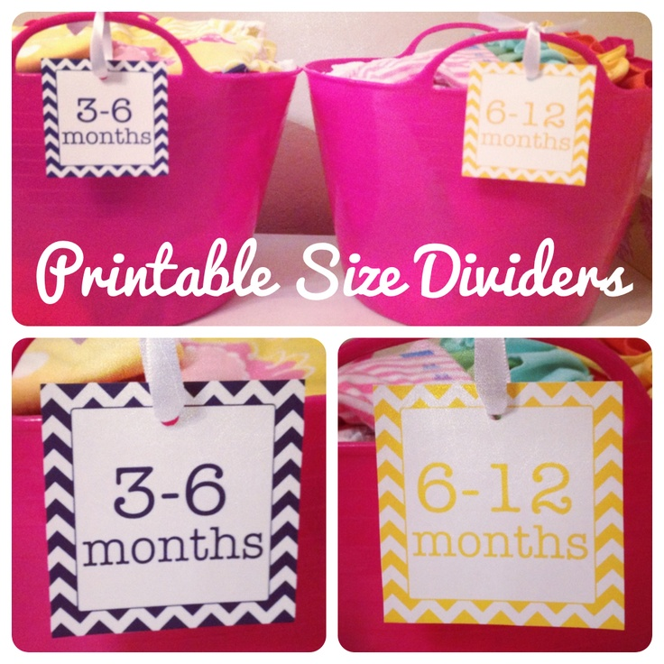 Life {Sweet} Life: DIY: FREE Printable Nursery Clothing Size Dividers/Labels Navy, yellow and pink