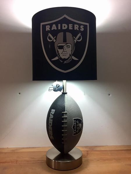 Oakland Raiders Football Lamp by CaliradoArt on Etsy https://www.etsy.com/listing/508386737/oakland-raiders-football-lamp