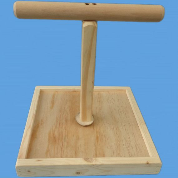 """Parrot T-Perch Stand With 12"""" x 12"""" base-Hand Made Bird Perch , Amazon , afican greys , mini macaws"""