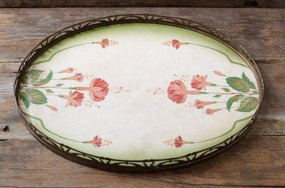 Art Nouveau Brass & Ceramic Serving Tray Germany by HouseofSeance
