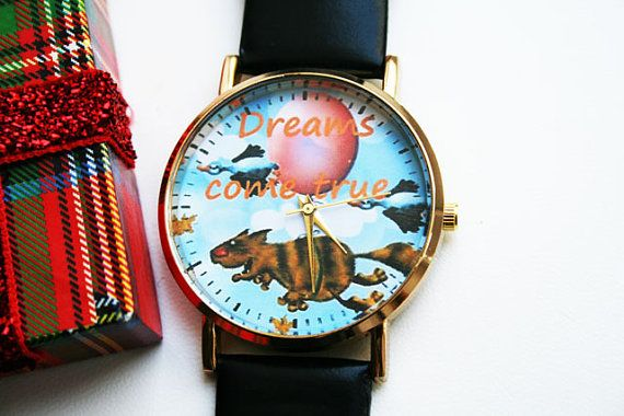 Leather womens Christmas designer watch men's Gift by SovietCrimea