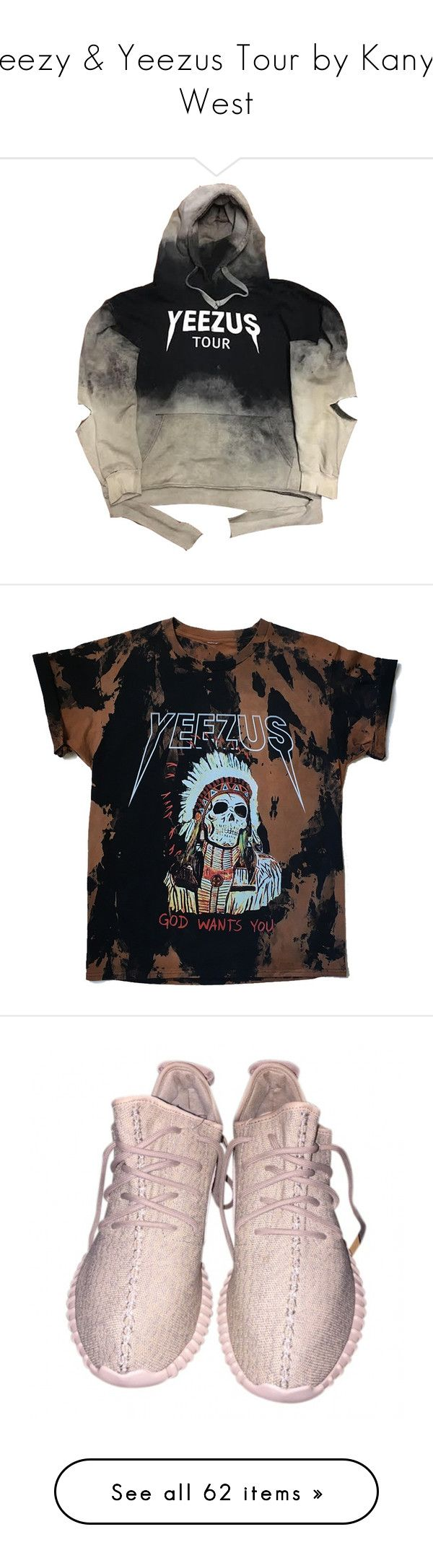 """Yeezy & Yeezus Tour by Kanye West"" by aneteas ❤ liked on Polyvore featuring tops, hoodies, sweaters, jackets, jumper, hooded sweatshirt, hoodie top, rock tops, distressed top and rock hoodie"