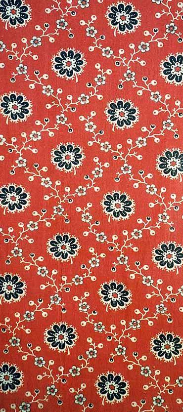 Detail of a piece of printed textileprinted cotton chintz1800 - 1850 Gawthorpe Hall, UK