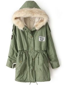Green Fur Hooded Zipper Embellished Fleece Inside Military Coat -SheIn(Sheinside)