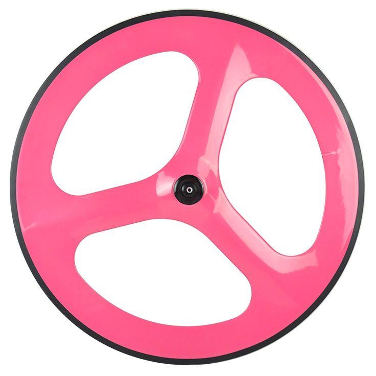 389.88$  Buy now - http://ali486.worldwells.pw/go.php?t=32222587202 - 700C Track Bike 3 Tri Spokes Fixed Gear Wheelset Road Bike Clincher Glossy T700 Carbon Fiber Bicycle wheels Front Rear Wheel