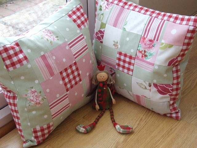 My New Cushions - fabric = Laura Ashley and Clarke and Clarke by shabby chic projects, via Flickr