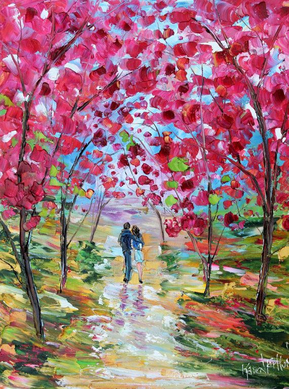 Spring romance blooms painting oil on canvas landscape for Spring canvas paintings