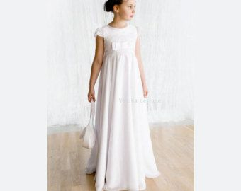 First Holy Communion dress in white with very by MonikaVenika