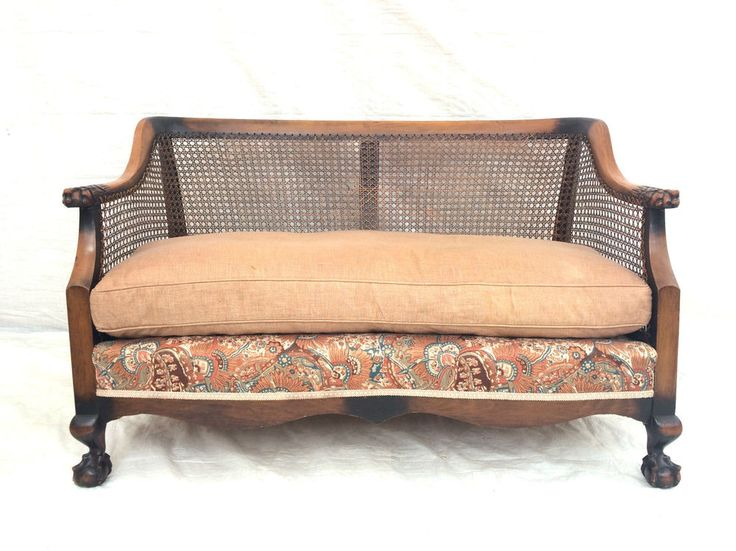Antique French Ball Claw Bergere Club Sofa Settee Vintage Farmhouse Rustic Chic