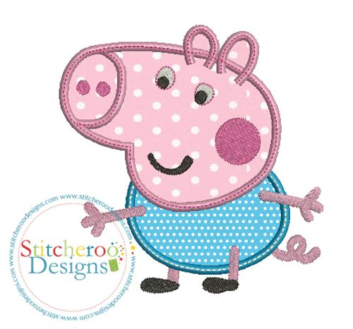Peppa Pig George Applique Embroidery Design By Stitcheroo