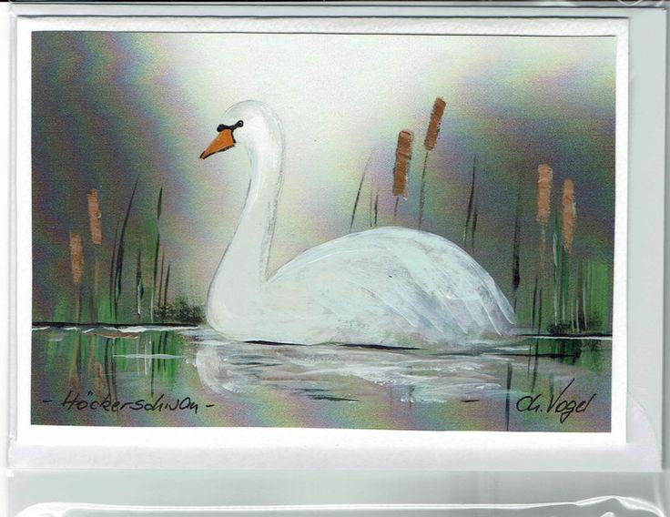 Grüße - Grußkarte - Höckerschwan, handgemalt - ein Designerstück von Vogelmalerin bei DaWanda